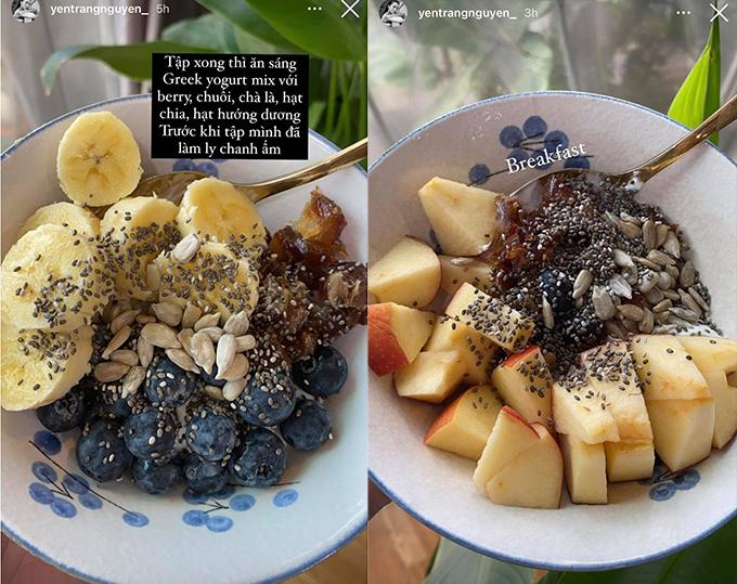 Bữa sáng giàu protein từ sữa chua Hy Lạp cùng nhiều chất xơ, vitamin từ các loại trái cây, hạt của Yến Trang.