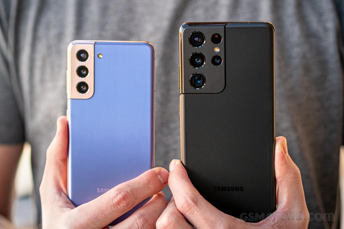 Samsung Galaxy S21+ 5G và Galaxy S21 Ultra. Ảnh: GSN