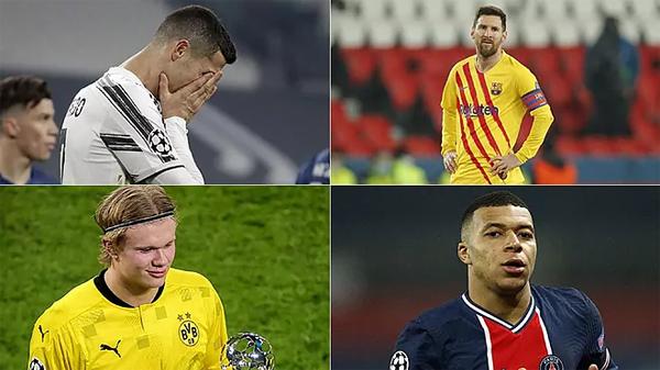 C. Ronaldo và Messi cùng bị loại ở vòng 1/8 Champions League trong khi hai sao trẻ Haaland và Mbappe tỏa sáng rực rỡ. Ảnh: Marca.