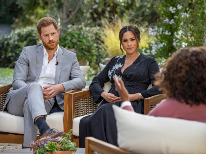 Nhà Sussex trong cuộc phỏng vấn kể tuốt với Oprah Winfrey. Ảnh: CBS.