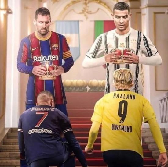 Thất bại của CR7 và M10 ở Champions League báo hiệu kỷ nguyên thống trị của hai siêu sao lừng danh sắp kết thúc, nhường chỗ cho hai đàn em là Mbappe và Haaland. Ảnh: Sportmediaset.