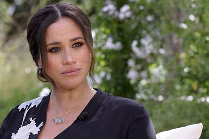 Meghan trong cuộc phỏng vấn với Oprah Winfrey. Ảnh: CBS.