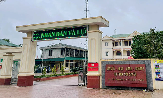 Trụ sở thị trấn Cẩm Xuyên, nơi ông Phi từng giữ chức Bí thư Đảng ủy, Chủ tịch UBND. Ảnh: Hùng Lê