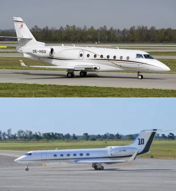 Máy bay riêng của C. Ronaldo (ảnh trên) và Messi. Ảnh: The Sun.