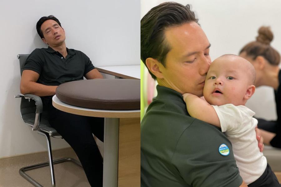 KIm Lý ngủ gật sau khi trông hai con.