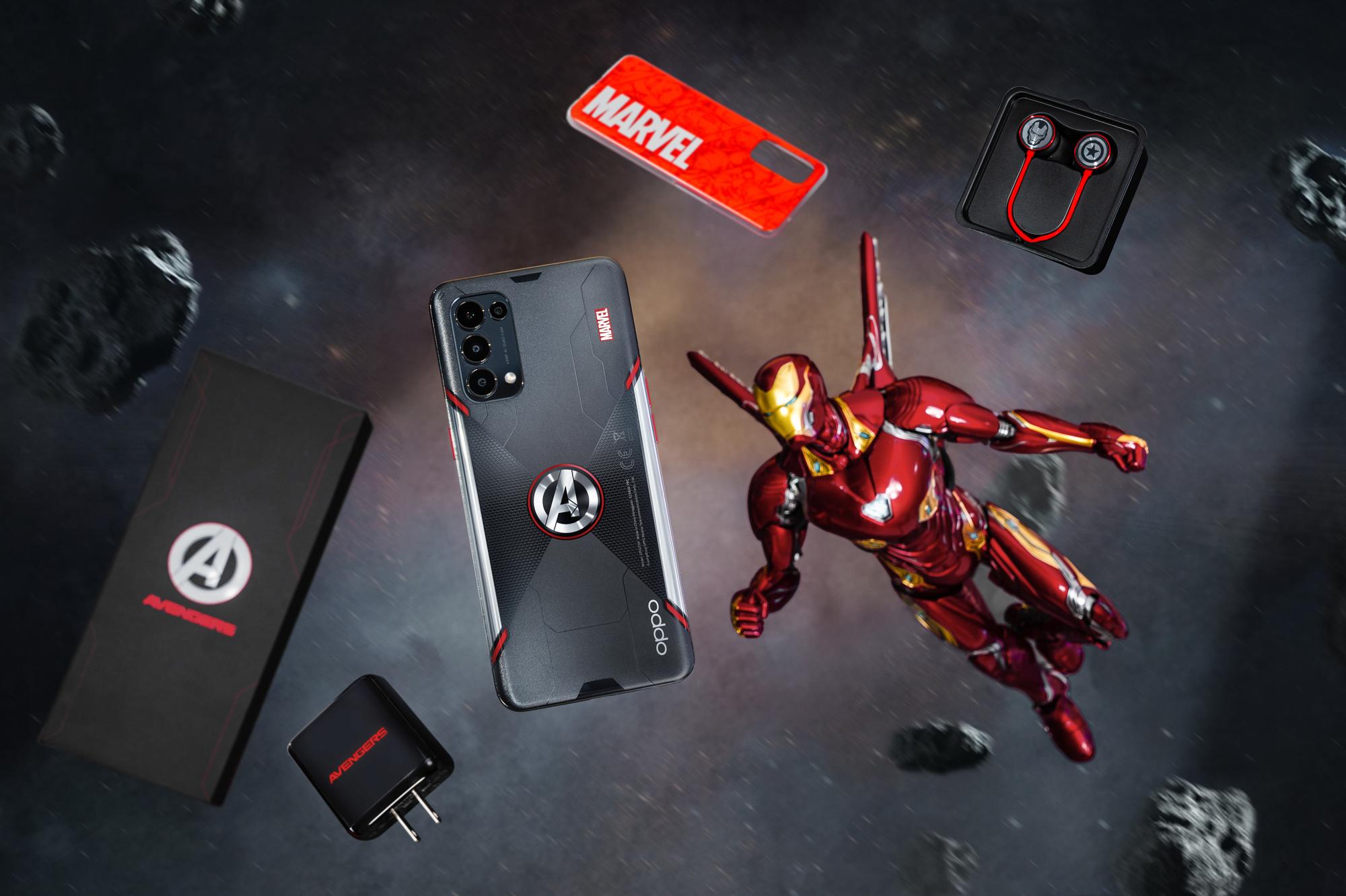 Mặt lưng của Reno5 Marvel Edition chia cắt bời hai đường chéo tạo chữ 'X'' lớn lấy cảm hứng từ biểu tượng của Black Widow.