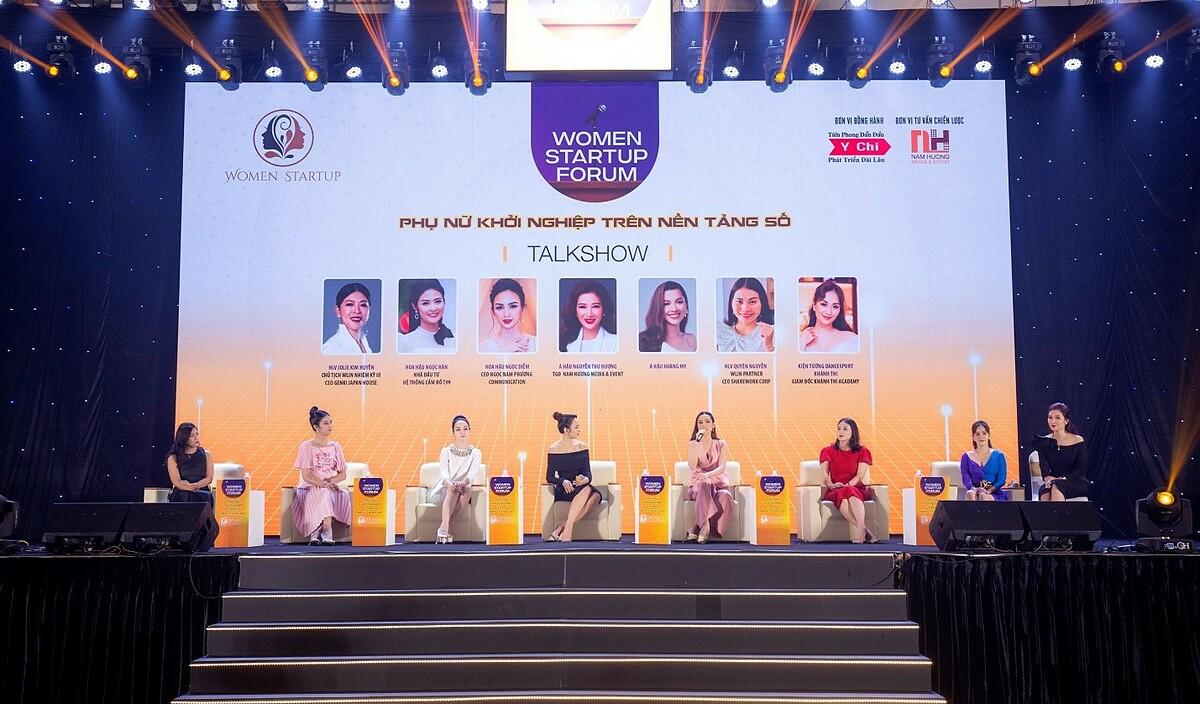 Ngọc Hân tham gia chương trình Phụ nữ khởi nghiệp trên nền tảng số. Ảnh: T99.
