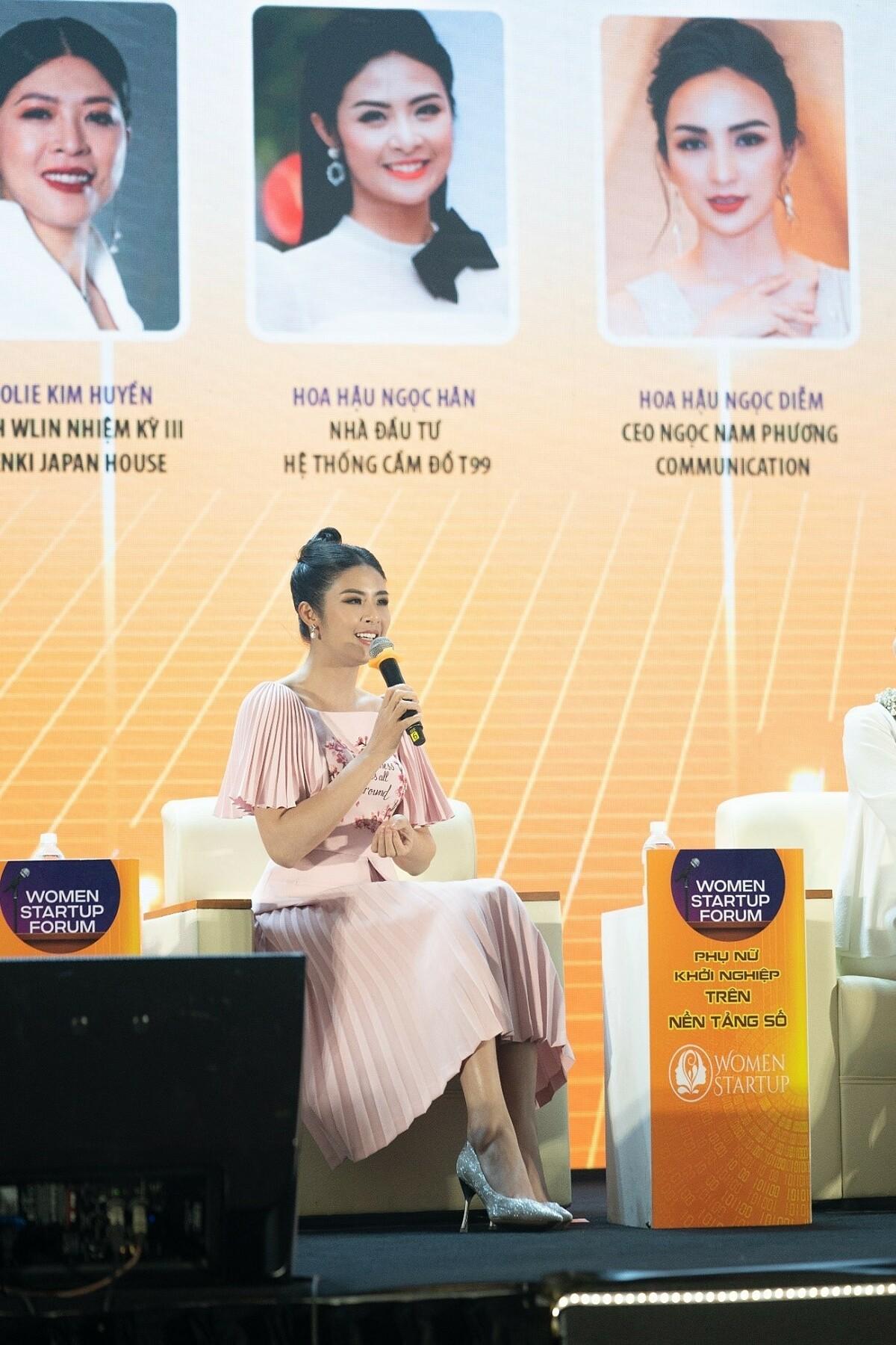 Hoa hậu Ngọc Hân tham dự sự kiện Diễn đàn Phụ nữ khởi nghiệp trên nền tảng số với tư cách là Nhà đầu tư Hệ thống cầm đồ T99.