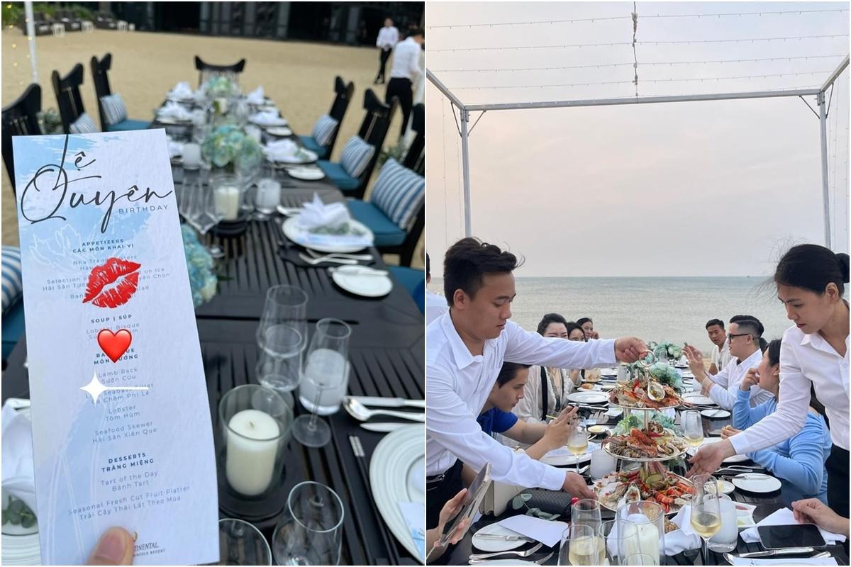[Caption]Tiệc sinh nhật Lệ Quyên diễn ra vào buổi chiều. Bàn ăn set up trên bãi biển, rất riêng tư. Thực đơn nhiều món cao cấp như sườn cừu nướng, tôm hùm nướng, súp tôm hùm, cá chẽm, hàu Nha Trang... Tráng miệng là bánh tart và trái cây. Khay hải sản ba tầng hấp dẫn trong tiệc sinh nhật của Lệ Quyên. Nơi nữ ca sĩ và bạn bè thưởng thức bữa tối cũng lý tưởng để ngắm mặt trời lặn. Cô đặc biệt yêu thích khung cảnh mây vờn trên núi, sương buông hòa với hoàng hôn trên bãi biển.