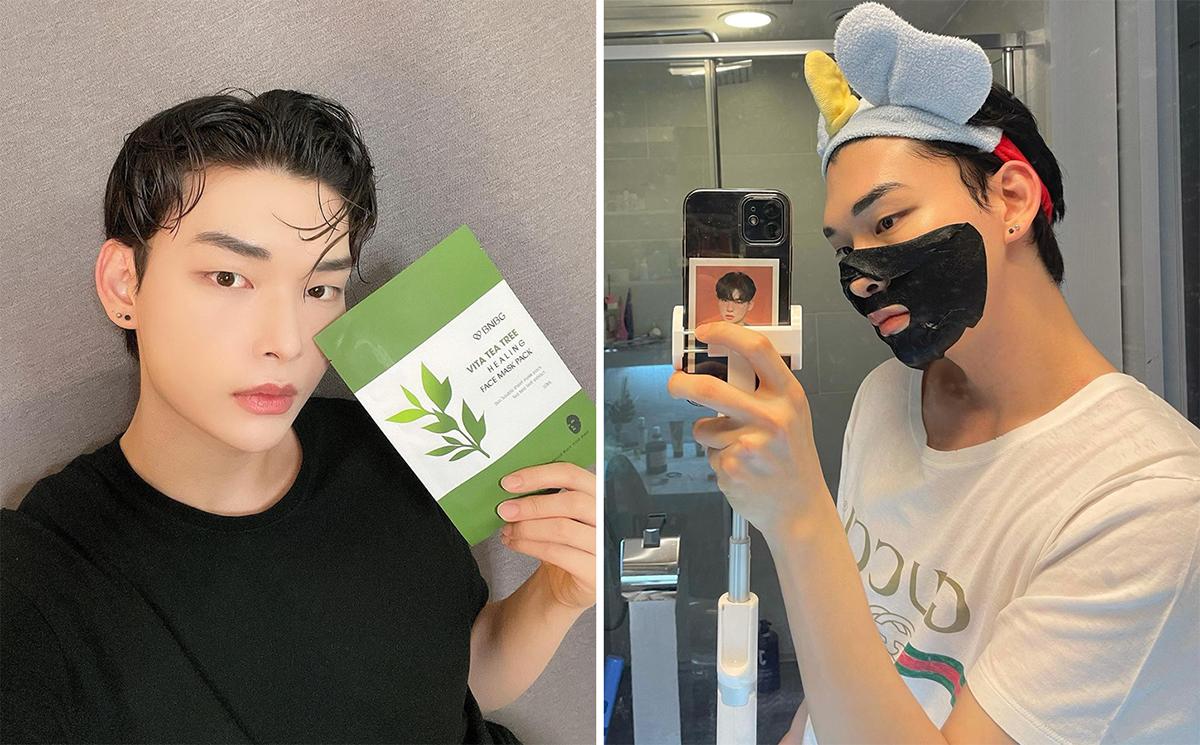 Một thanh niên Hàn Quốc sử dụng mặt nạ tràm trà để da sạch mụn, căng bóng hơn. Ảnh nhân vật cung cấp.