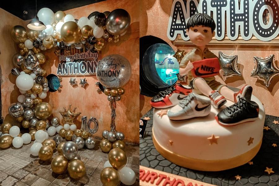 Không gian bữa tiệc và bánh kem được nữ ca sĩ chuẩn bị kỳ công cho con trai.