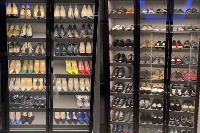 Vợ chồng Trấn Thành sở hữu bộ sưu tập quần áo, giày dép khổng lồ nên phải tận dụng nhiều không gian để chứa đồ.