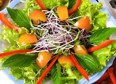 Salad rau mầm sốt mè rang tự làm - 4