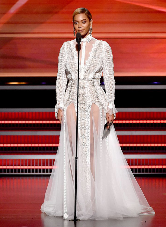 Beyonce gave a speech at the Grammy Awards in 2016 dressed in bridal attire by Inbal Dror
