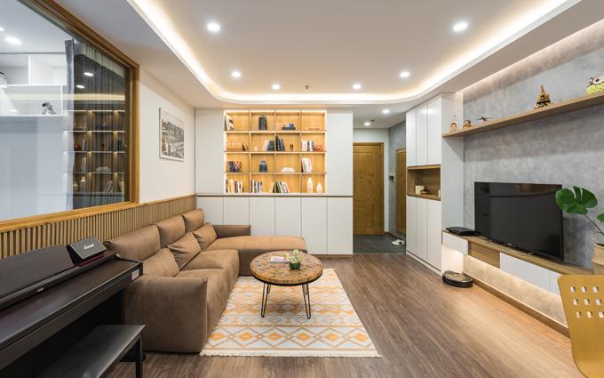Căn hộ có diện tích 85 m2, nằm trong khu Times City, Hà Nội dành cho đôi vợ chồng trẻ và một con nhỏ.
