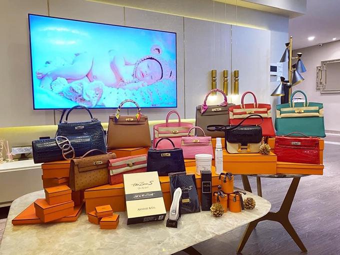 Bộ sưu tập Hermes của Vân Nguyễn lên tới hàng chục chiếc, chủ yếu là dòng Kelly và Birkin với các màu sắc khác nhau. Hầu hết những chiếc túi này đều được cô mua trong các chuyến công tác nước ngoài hoặc do ông xã tặng vào các dịp đặc biệt.