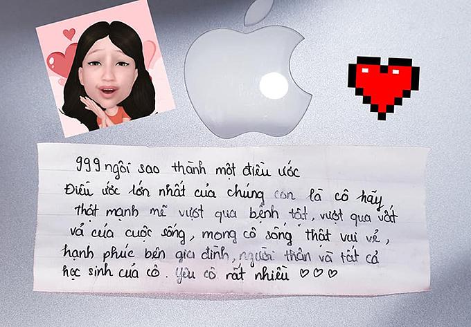Lời nhắn nhủ đong đầy yêu thương mà chị Ngọc Lan nhận được từ các học sinh của mình.