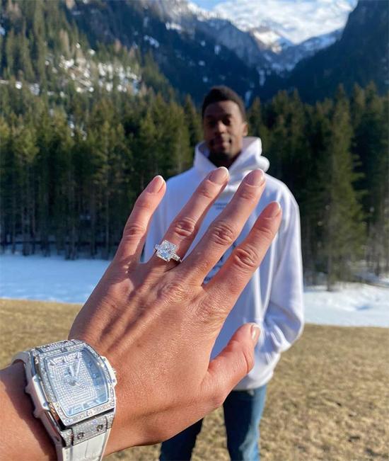 Vợ sắp cưới Monfils khoe nhẫn đính kim cương. Ảnh: Instagram.