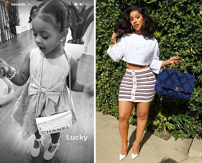 Trước khi đăng ảnh con gái đeo túi Chanel, Cardi B cũng khoe set đồ sành điệu từ nhà mốt Pháp.