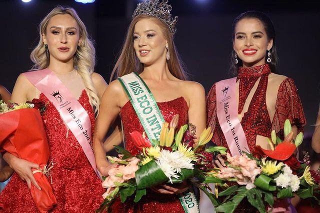 Hoa hậu và hai á hậu của Miss Eco International 2021.