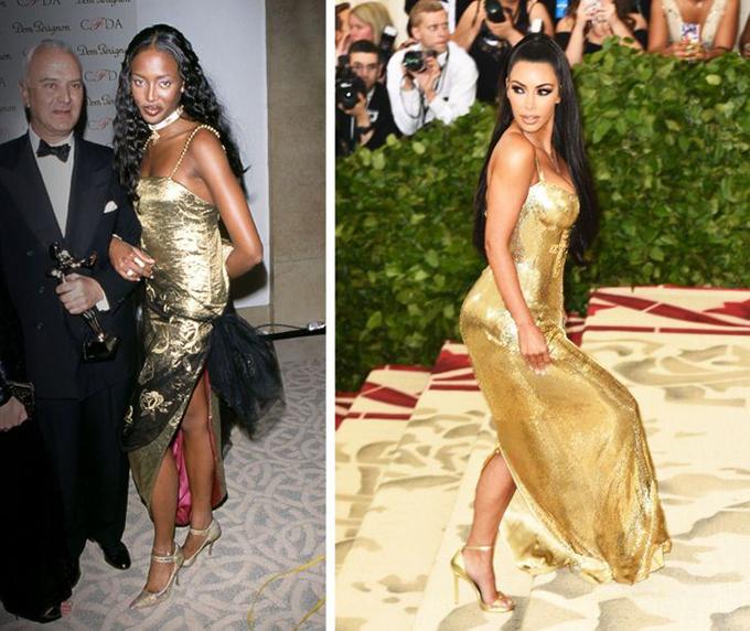 Naomi Campbell 1998 Kim Kardashian 2018