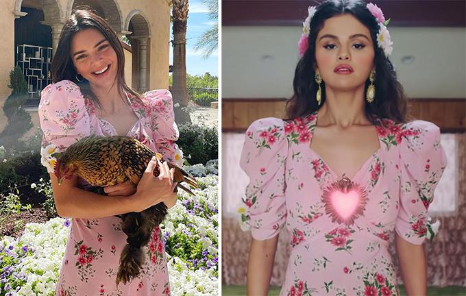 Kendall Jenner (trái) và Selena Gomez mỗi người một vẻ khi diện chung thiết kế nữ tính của Rodarte.