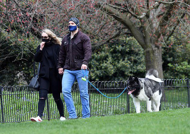 Henry Cavill dắt theo chú chó Kal yêu quý của anh.