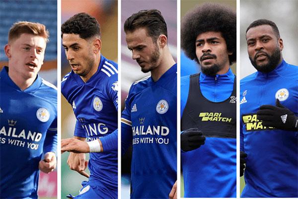 Nhóm cầu thủ Leicester tiệc tùng trong thời gian phong tỏa cuối tuần trước (từ trái qua) gồm Harvey Barnes, Ayoze Perez, James Maddison, Hamza Choudhury và Wes Morgan. Ảnh: The Athletic.