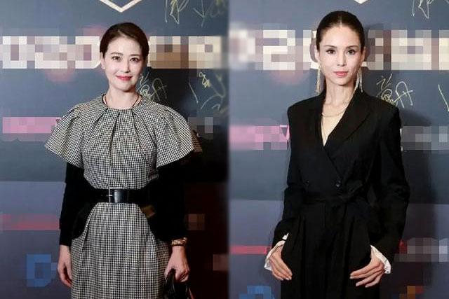Lý Nhược Đồng và Châu Hải My (trái) cùng dự sự kiện. Châu Hải My được cho là da căng mượt mà hơn so với Nhược Đồng.