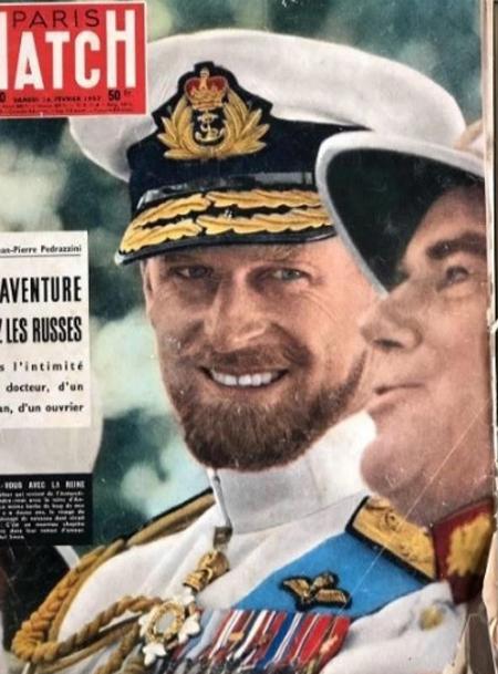 Hoàng thân Philip trên bìa tạp chí Paris Match hồi năm 1957. Ảnh: Instagram.