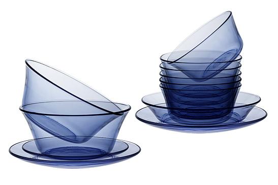 Bộ bàn ăn 12 món thủy tinh cường lực Pháp Duralex Lys Xanh Marine giảm còn 728.450 đồng (giá gốc 857.000 đồng) gồm: 6 chén, 2 tô 17 cm, 2 đĩa 19 cm, 1 đĩa trũng 19 cm, 1 đĩa 23 cm. Sản phẩm có thể để trong tủ đông lạnh, lò vi sóng, máy rửa chén; chịu sốc nhiệt - 4 độ C đến 130 độ C.