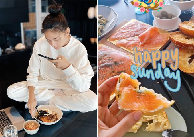 Ngô Thanh Vân khoe hai bữa ăn trong ngày được bạn trai nấu cho thưởng thức.