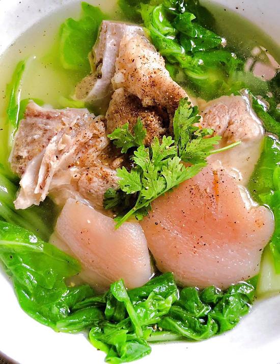 Canh cải nhúng nấu chân giò - 2