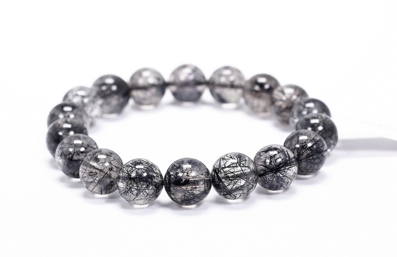 Vòng tay trơn đá thạch anh tóc đen size hạt 11 mm Ngọc Quý Gemstones