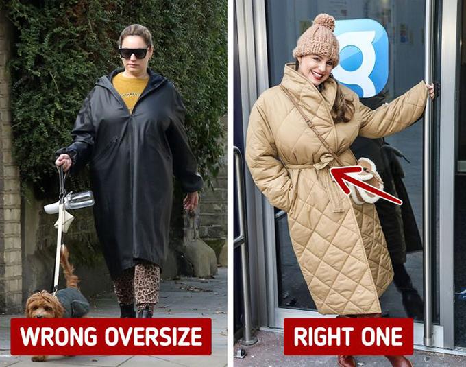 Trang phục oversized thiếu điểm nhấnĐể tránh bị nuốt dáng khi mặc đồ oversized, nàng nên bổ sung đai eo nhằm tạo tỷ lệ cân đối, hoặc chọn thiết kế mở vạt thay vì chui đầu.