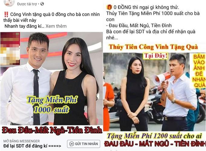 Một số Fanpage dùng hình ảnh của vợ chồng Thủy Tiên để lừa đảo.