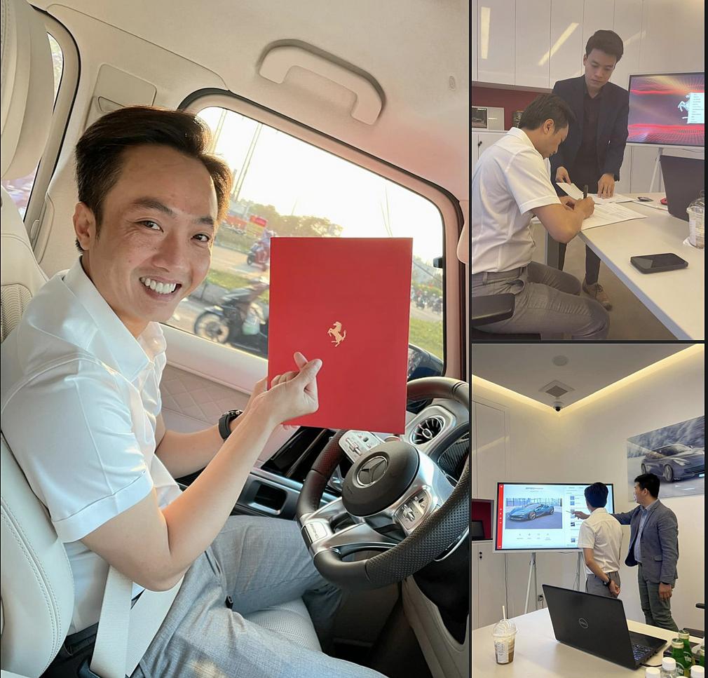 Nguyễn Quốc Cường chia sẻ về việc đặt mua siêu xe Ferrari.