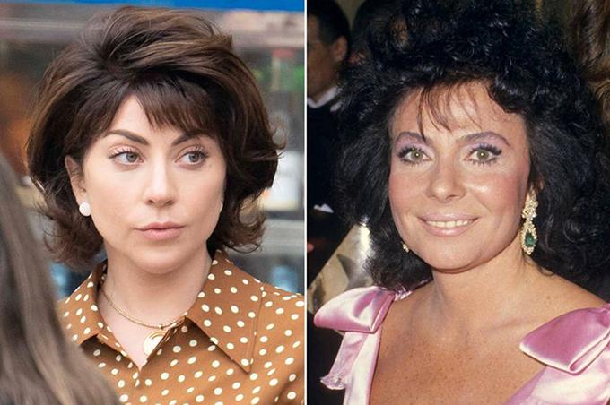 Lady Gaga trong phim House of Gucci (trái) và nguyên mẫu Patrizia Reggiani.