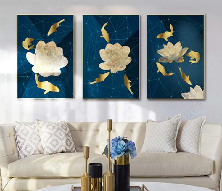 Tranh treo tường GD23của nội thất IGEA có họa tiết hoa trắng trên nền xanh cobalt. Chất liệu tráng gương tạo hình ảnh sắc nét, chống trày xước. Bộ sản phẩm đầy đủ gồm 3 tranh, mỗi tranh kích thước 40 x 60 cm, hoặc 50 x 70 cm hay 60 x 80 cm. Cả ba kích thước đều đang được bán đồng giá 448.000 đồng nhờ cửa hàng ưu đãi 25%.