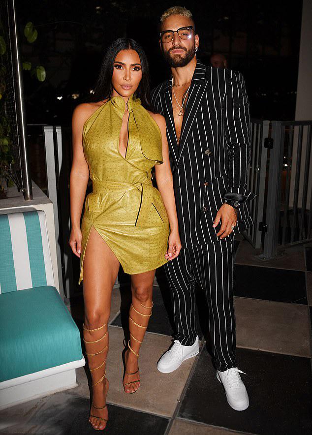 Kim và Maluma tại bữa tiệc ở Miami.