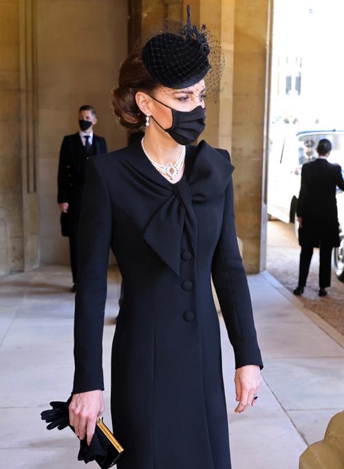 Nữ công tước xứ Cambridge ở lễ tang Hoàng thân Philip hôm 17/4. Ảnh: PA.