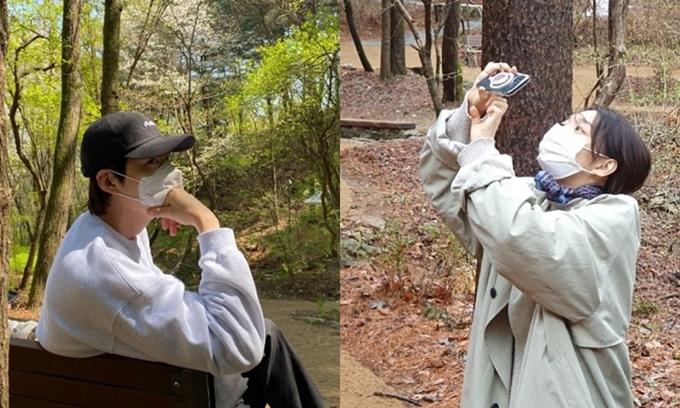 Kim Woo Bin và Shin Min Ah đi chơi gần đây.