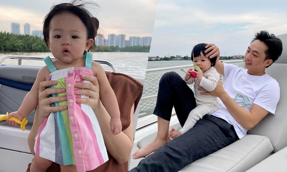 Vợ chồng Cường Đôla chơi với con gái trên du thuyền.