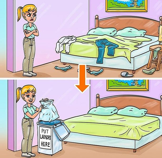 Vợ đặt sẵn một thùng trong góc phòng để chồng đựng quần áo bẩn thay vì vứt bừa bãi.