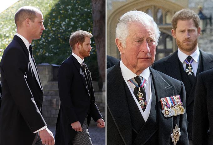 Harry với anh trai và cha tại đám tang ông nội hôm 17/4. Ảnh: UK Press.