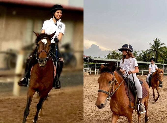 Hai con song sinh Tôm - Tép nhà Hồng Nhung đam mê với bộ môn cưỡi ngựa. Cô cho biết các con đi tập đều nên vượt xa mẹ.