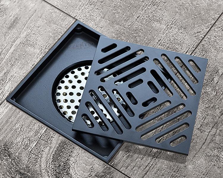Thoát sànBlack series Zento ZT578-1Bmàu đen, hình vuông, họa tiết đơn giản, thiết kế đọng lại nước trong đường ống để chống mùi hôi và côn trùng. Hai lớp lọc ngăn tóc, rác lọt xuống. Các chi tiết có thể tháo rời để lọc nhanh và dễ vệ sinh. Sản phẩm nặng 710 gr, làm từ hợp kim đồng không bị gỉ sét, chịu được lực tác động bề mặt lớn, không bị cong vênh hay móp méo. Kích thước 120 x 120 x 95 mm, Ø50 mm, phù hợp với đường ống Ø60 - Ø100mm. Sản phẩm bảo hành 12 tháng, hiện ưu đãi 32% còn 400.000 đồng.