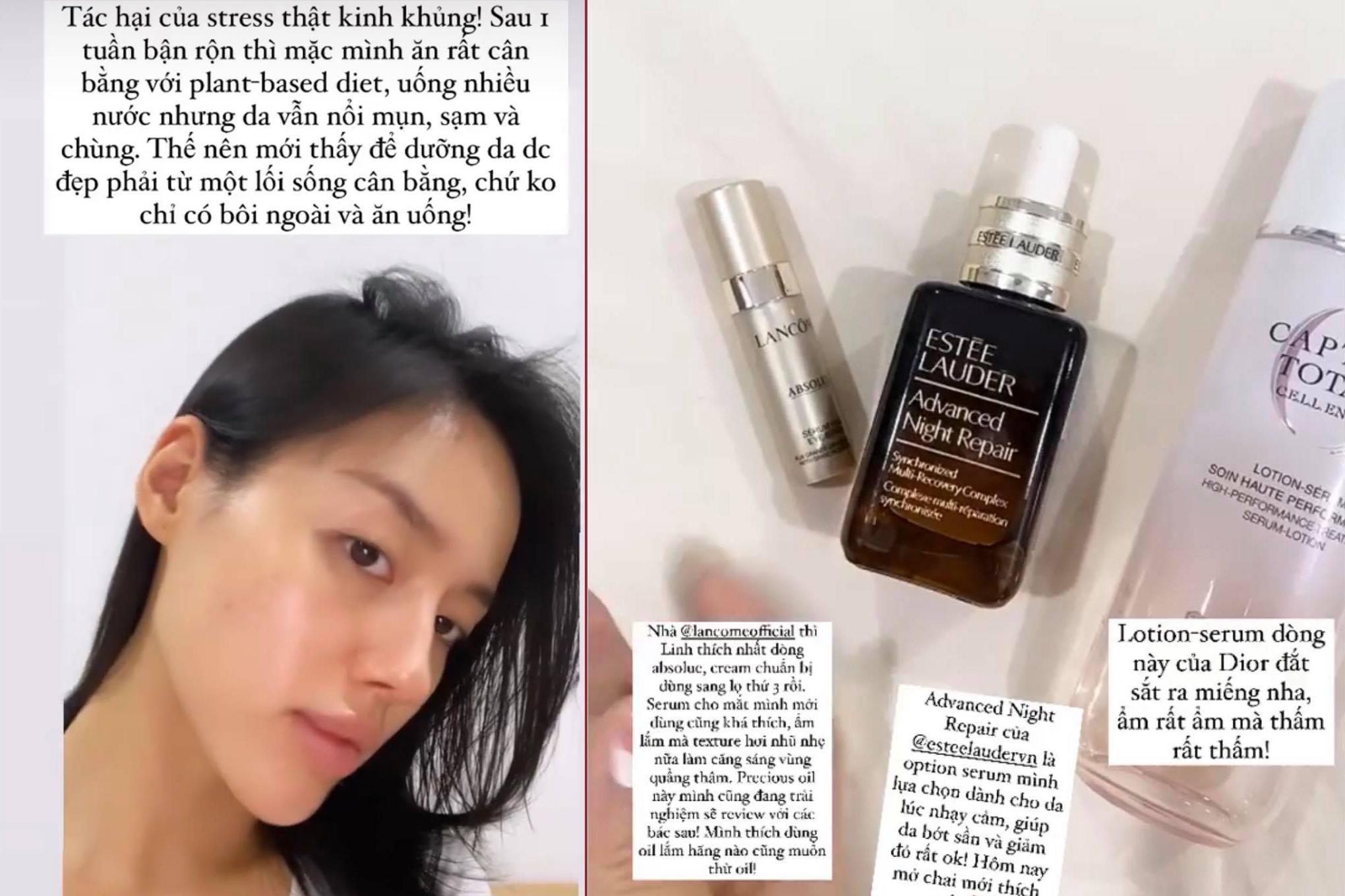 Một số sản phẩm Khánh Linh ưu tiên sử dụng khi làn da nhạy cảm, nổi mụn ồ ạt.