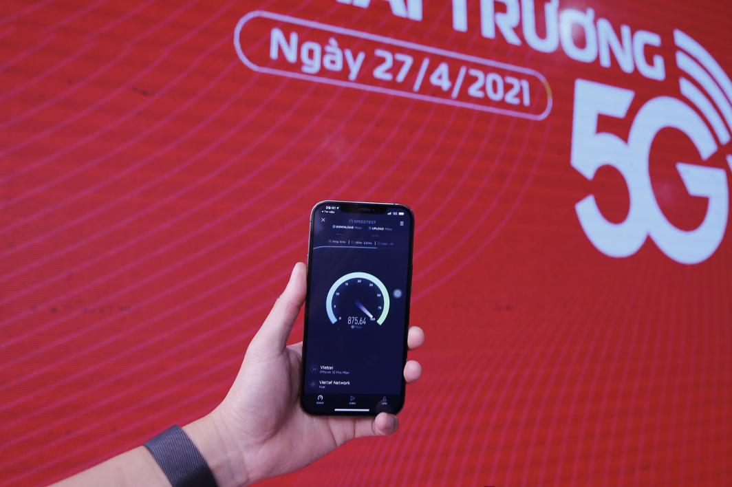 Kết quả thử nghiệm tốc độ 5G Viettel trên iPhone 12 tại Huế.
