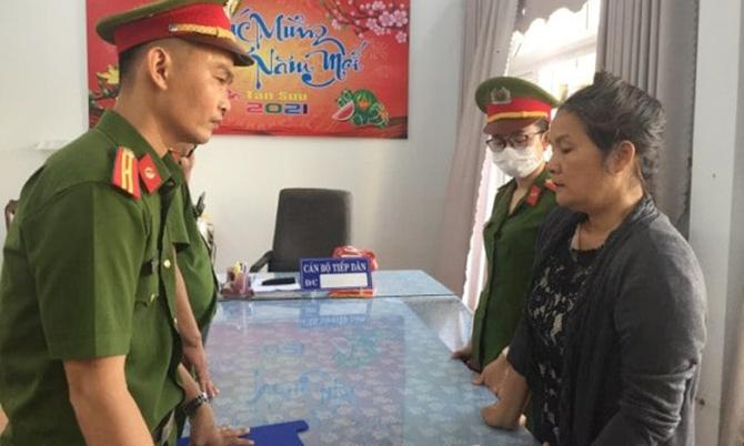 Phạm Thị Hòa tại cơ quan điều tra. Ảnh: Công an cung cấp.
